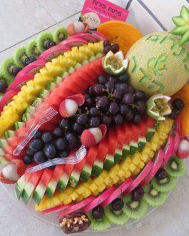 מגש פירות  חריטה בהקדשה אישית קוטר 40