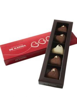 5 פרליני לב שוקולד במילוי טראפל